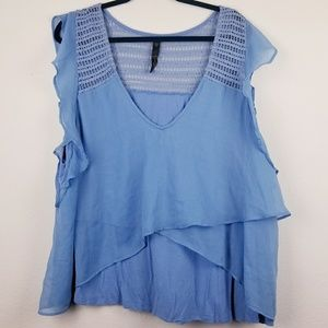 Jessica Simpson blue layered ruffled blouse